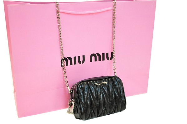 miu miu RT0075 Black Shiny Calf Leather mini Bag