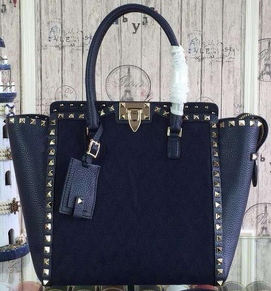 Valentino Garavani Rockstud Medium Bag Jaquard Fabric VG1912T Royal