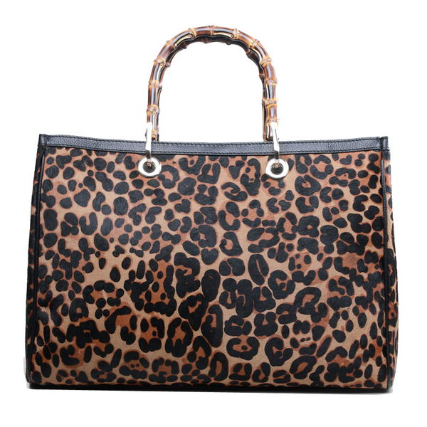 Gucci Bamboo Shopper Leather Tote Bag 323658 Leopard