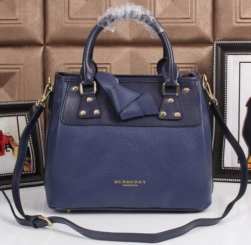 BurBerry Grainy Leather Tote Bag 8815 Royal