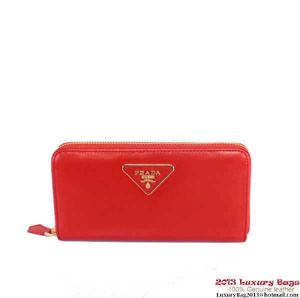 Prada Shiny Leather Zippy Wallet P105 Red