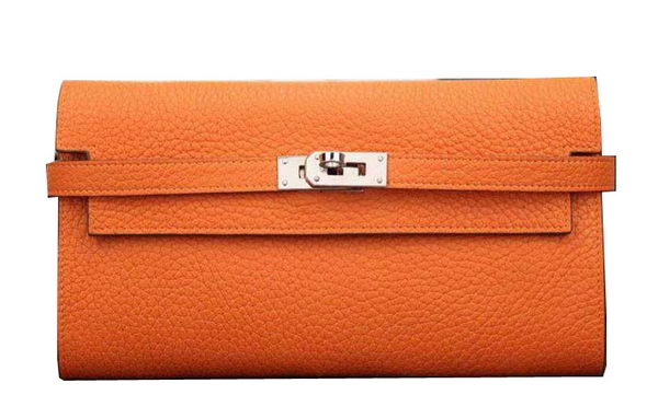 Hermes Kelly Wallet Togo Leather Bi-Fold Purse HA708W Orange