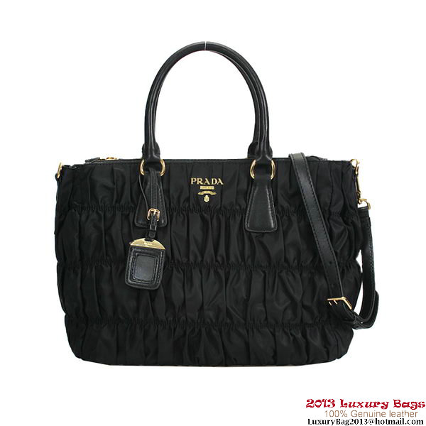 Prada Gaufre Fabric Top Handle Bag BN1788 Black