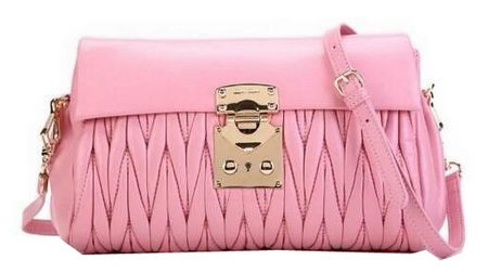 miu miu Matelasse Original Leather Shoulder Flap Bag RN0237 Sakura