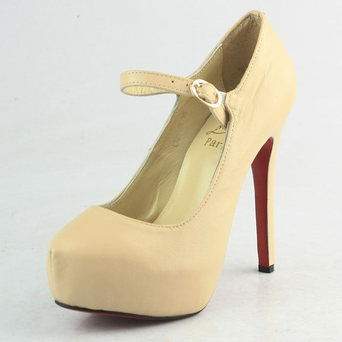 Christian Louboutin Nude Leather Strap Pumps