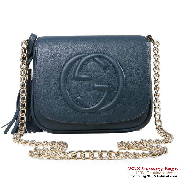 Gucci Soho 323190 RoyalBlue Leather Chain Shoulder Bag