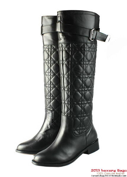 Dior Sheepskin Leather Knee Boots D0120 Black