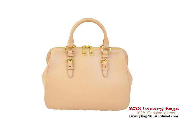 miu miu Pebble-Finish Madras Goat Leather Top-handle Bag RL0063 Light Pink