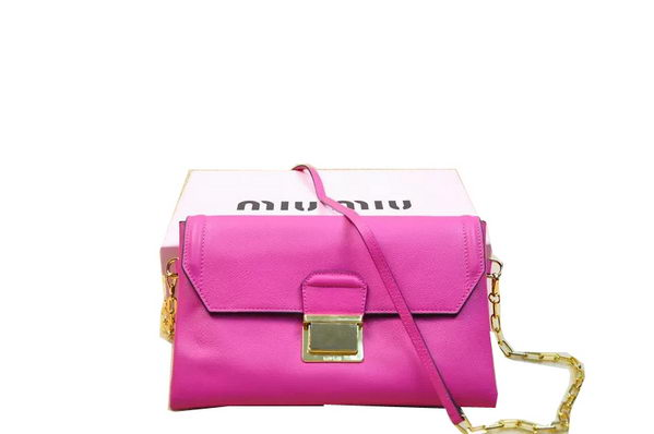 miu miu Soft Calf Leather Shoulder Bag RP0383 Rose