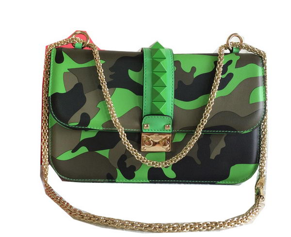 Valentino Mimetic-Effect Fabric Shoulder Bag VO1888 Green