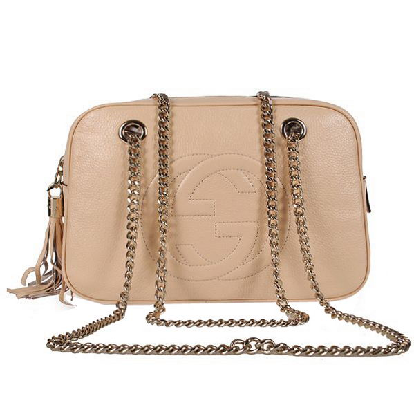 Gucci Soho Calf Leather Shoulder Bag 308983 Light Apricot