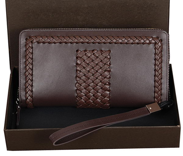 Bottega Veneta Intrecciato Nappa Zip Around Wallet BV3323 Brown