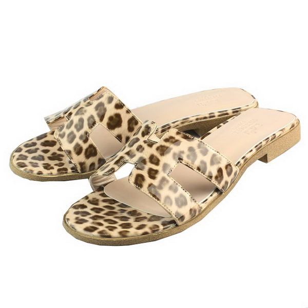 Hermes Leopard Veins Calfskin Leather slippers H088 Brown