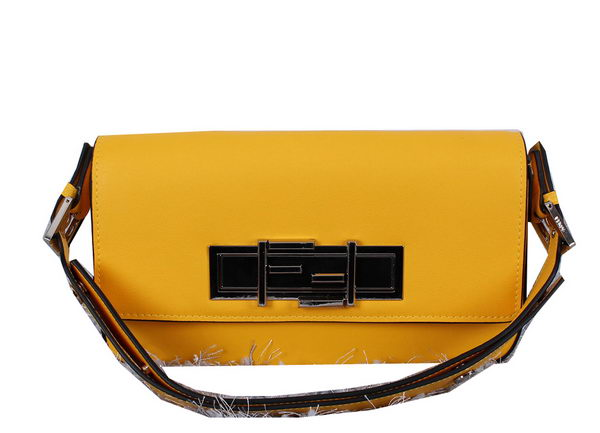 Fendi 3BAGUETTE Two-Tone Calfskin Clutch 8BR720 Yellow
