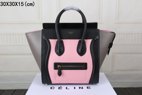 Celine Luggage Mini Tote Bag Original Leather CTS3308 Pink&Black&Grey