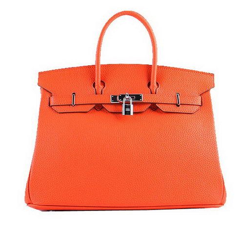 Hermes Birkin 35CM Tote Bags Orange Grainy Leather H-35 Silver