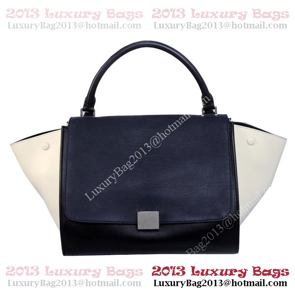 Celine Trapeze Bag Original Leather C006 Black&Blue&OffWhite