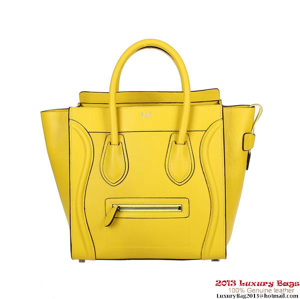 Celine Luggage Mini Shopper Bag Fluorescence Leather 88022 Yellow
