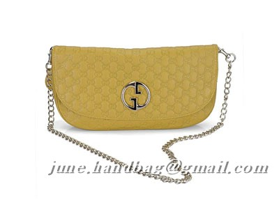 Gucci Guccissima Leather Clutch Bag 241117 Yellow