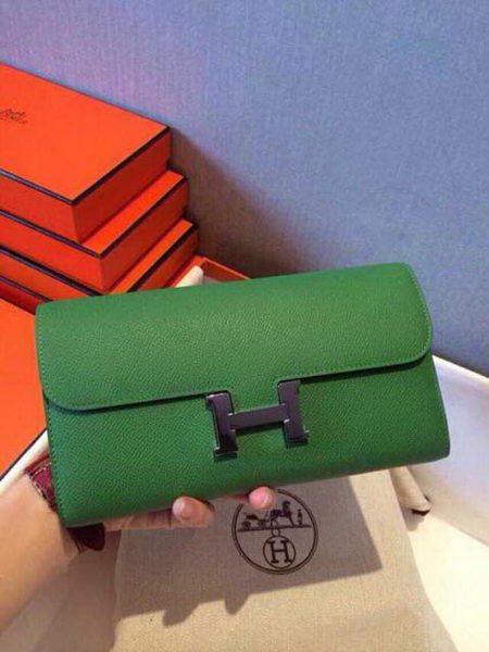 Hermes Constance Long Wallets Original Leather HA909 Green