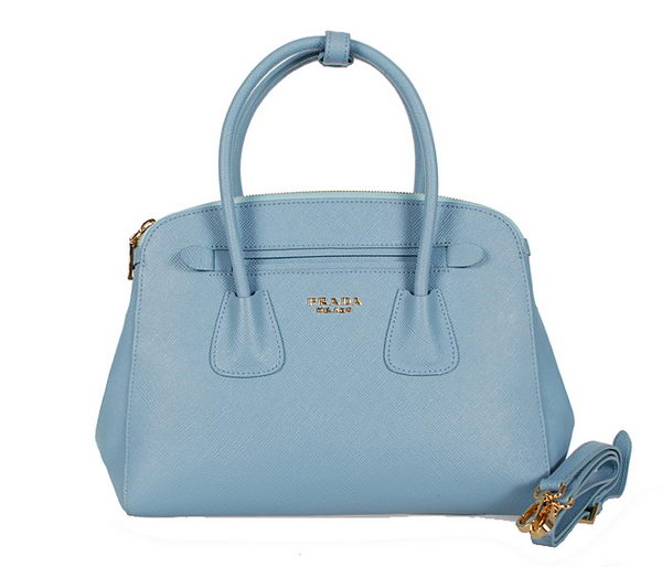 Prada BN2569 Light Blue Saffiano Cuir Leather Tote Bag