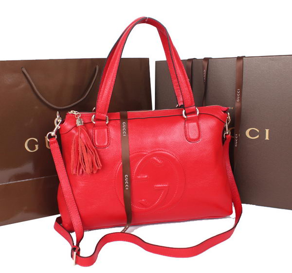 Gucci Calf Leather Soho Top Handle Bag 308362 Red