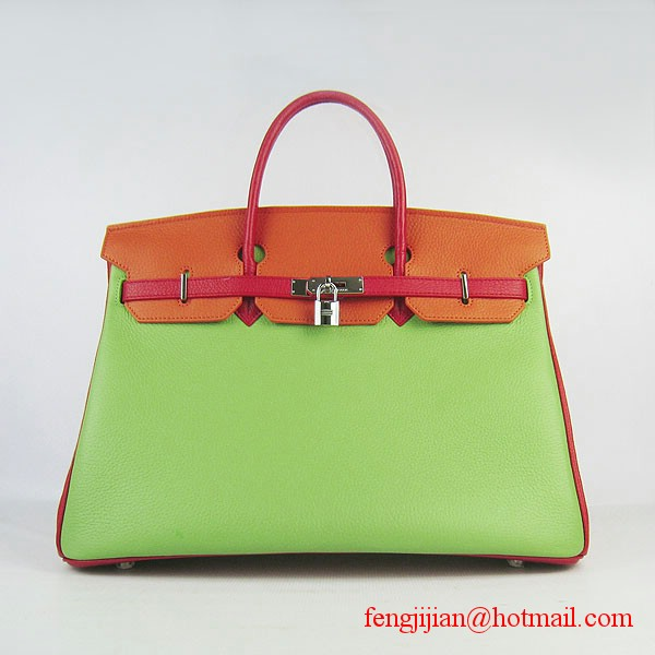 Hermes Birkin 40cm Togo Bag Red-Orange-Green 6099
