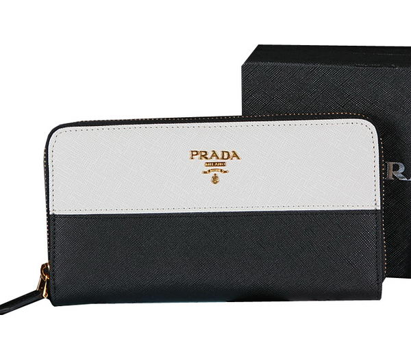 Prada Saffiano Leather Zippy Wallet 1M0506C White&Black