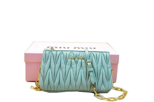 miu miu Matelasse Nappa Leather Shoulder Bag RP0546 Light Blue