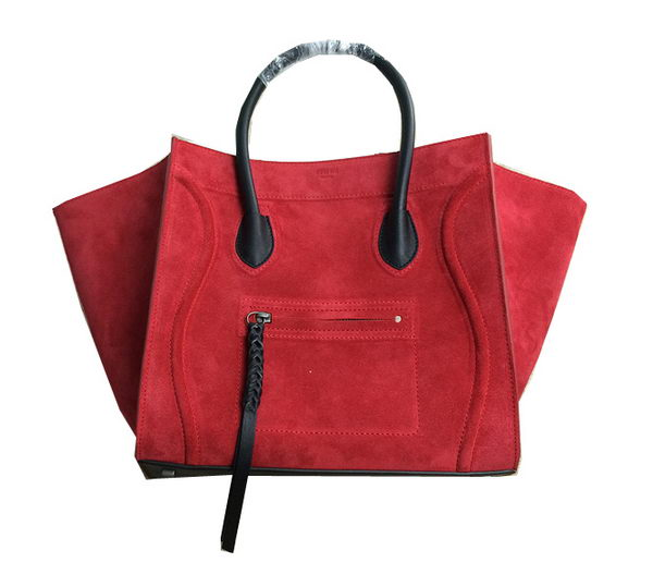 Celine Luggage Phantom Bags Nubuck Leather 99013 Red&Black