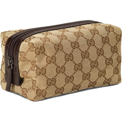 Gucci Large Cosmetic Case Beige Dark Brown