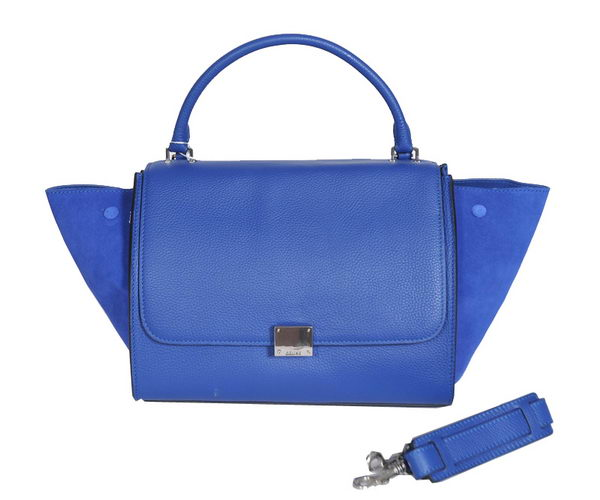 Celine Trapeze Bags Calfskin&Suede Leather Blue Silver