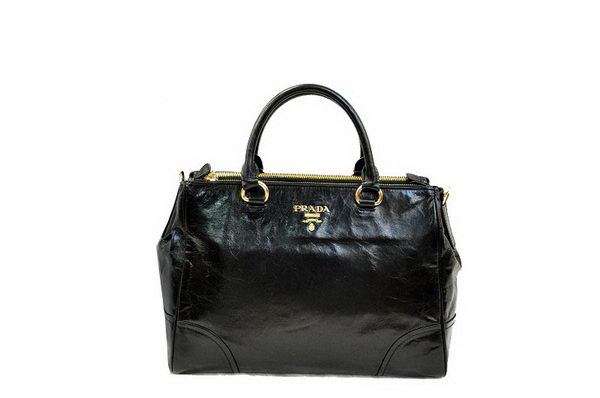 PRADA Shiny Leather Tote Bag BN2324 Black