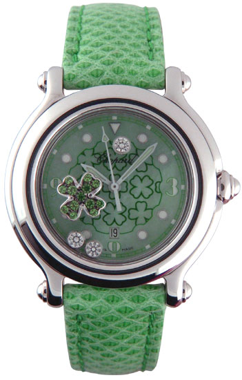 Chopard Happy Sport Series Good Luck Clover Diamond Emerald Unisex Watch 278428 in Green