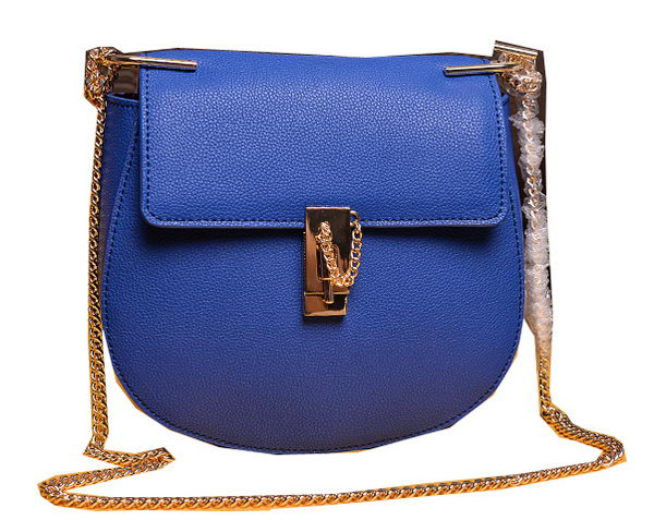 CHLOE Drew Small Grained Leather Shoulder Bag 2480 Blue