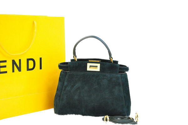 Fendi Icoic Peekaboo Bag Nubuck Leather F8293 Green