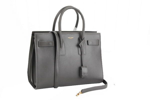Yves Saint Laurent Classic Small Sac De Jour Bag in FOG Leather 23669 Grey