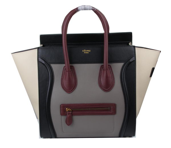 Celine Luggage Mini Tote Bag Original Leather Ci3308 Grey&Burgundy&Black&Grey