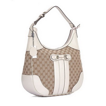 Gucci Cathrine Medium GG Fabric Bag 247285 White