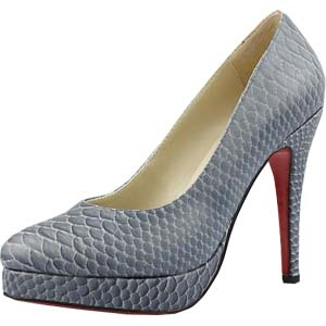 Christian Louboutin Red Sole Shoes Snakeskin Platform Pumps Grey