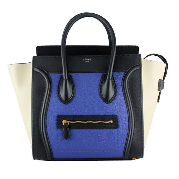 Celine Luggage Mini Ferrari Leather 88022 Blue&Black&OffWhite