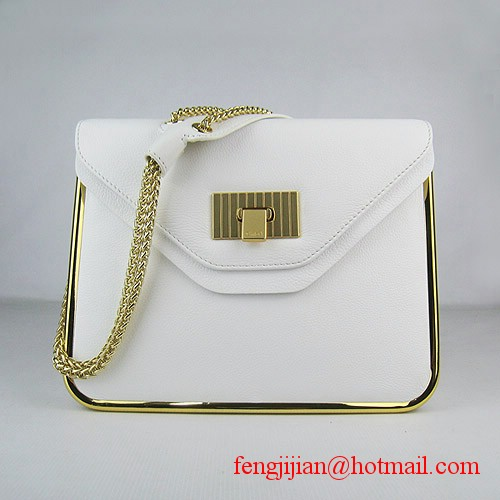 Chloe Sally Calf Leather Shoulder Bag White 50898