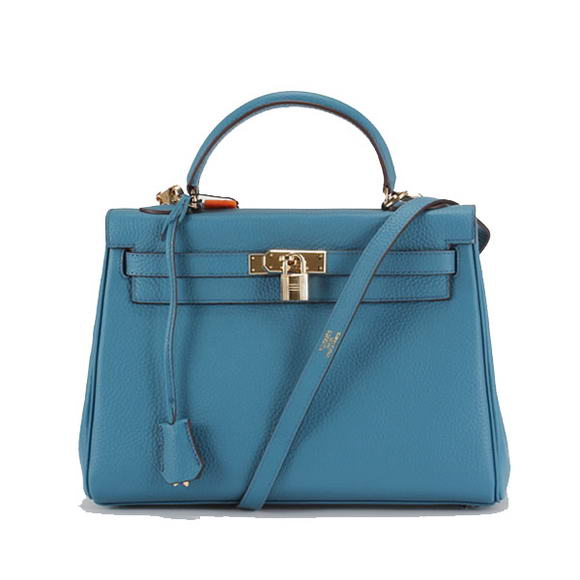 Hermes Kelly 32cm Togo Leather Handbags 6018 Blue Golden