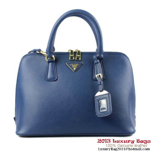 PRADA Saffiano Leather 33CM Two Handle Bag BL0812 Dark Blue