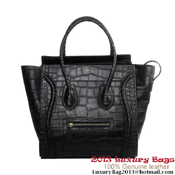 Celine Luggage Mini Boston Bags All Croco Leather Black