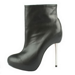 Christian Louboutin Sheepskin Round toe Ankle Boots Black