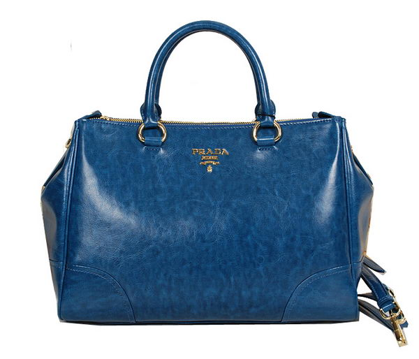 PRADA Shiny Leather Tote Bag BN2324 Blue
