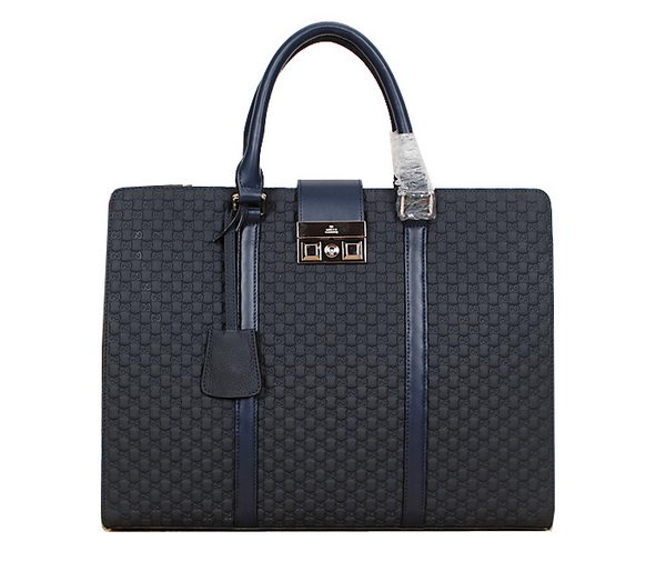 Gucci Guccissima Leather Business Briefcase 8018 RoyalBlue