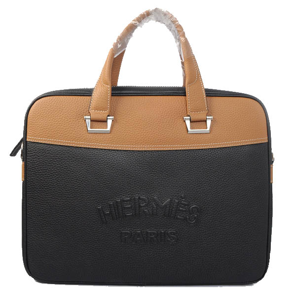 Hermes Briefcase Original Grainy Leather H8069 Black&Wheat