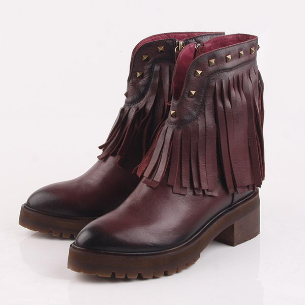 Valentino Tassels Calfskin Leather Ankle Boot VT204 Burgundy
